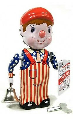 News Boy with Circus Paper and Bell Tin Litho Wind up Clockwork Mechanism DL