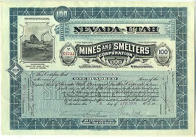 Nevada-Utah Mines & Smelters Corporation Stock Certificate Maine