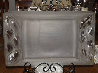 ART DECO  FROSTED GLASS TABLE VANITY CONSOLE TRAY 2 CANDLE  STICKS
