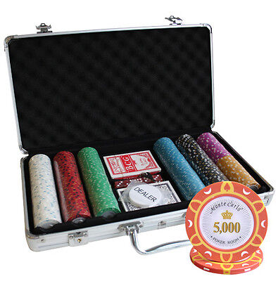 300pcs MONTE CARLO POKER ROOM POKER CHIPS SET