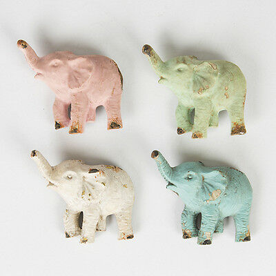 FOUR Modern Distressed Retro Pastel Coloured Elephant Magnets by Sass and Belle