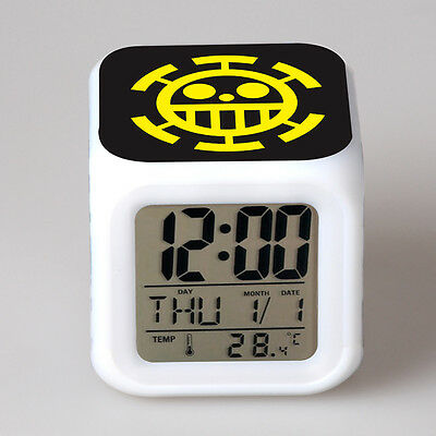 Anime One Piece Trafalgar Law 7 Color Change Glowing Digital Alarm Plastic Clock