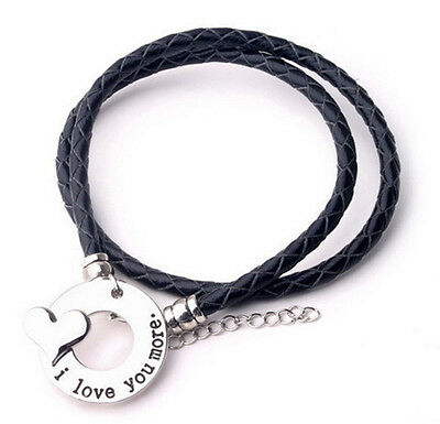 Leather Bracelet Wristband  'I Love You More' Ladies Girls Mens, Loved One Gift