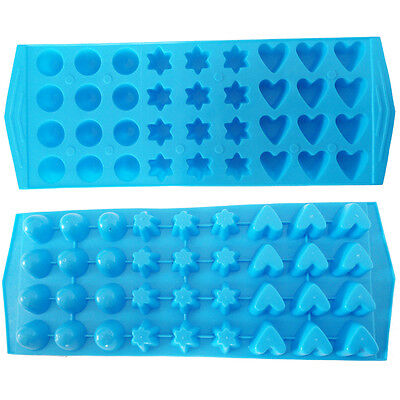 3 Shapes Assorted Ice Cube Tray BLUE Mini Round Heart Star Party Chilled Drink
