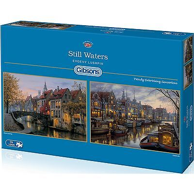 GIBSONS STILL WATERS 2 x 1000 PIECE EUROPEAN CANALS & RIVERS JIGSAW PUZZLE