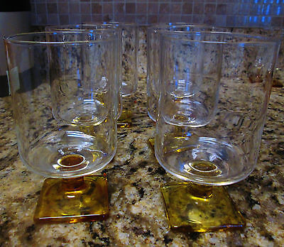 Vtg. Luminarc Amber Square Footed Wine/Water Glasses Set of 6