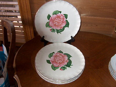 Vintage~W.S. George Pottery~(4) Rose Pattern Dinner Plates~Beautiful
