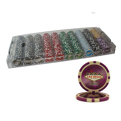 500pcs 14G LAS VEGAS LASER CASINO POKER CHIPS SET ACRYLIC CASE