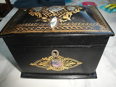 "BOX ANTIQUE TEA CADDY c1850 Gilded Black Chinoiserie MOP INLAY 5.5""x4.5""x3.5"""