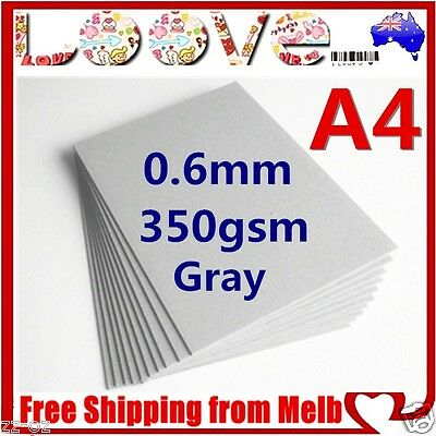 150x A4 Gray 350gsm Cardboard 0.6mm Chipboard Boxboard Recycled Card Packaging