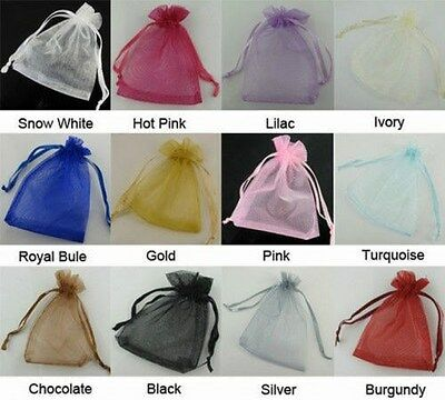 50pcs  Wedding Favour Sheer Gift Bags Jewellery Packing Organza Pouch Gift Bag