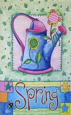 Spring Watering Can Decorative Garden Flag Double-Sided Whimsical