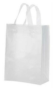 "Clear Bags Plastic 25 Retail Merchandise Shopping Frosted Frosty 8"" x 5"" x 10"""