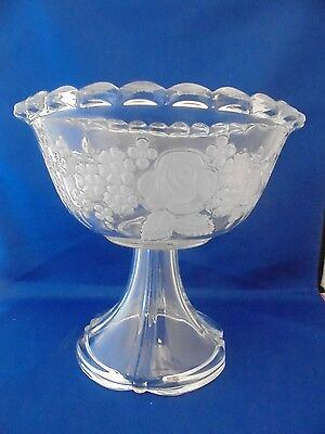 Vintage Walther Crystal Mikasa FROSTED Rose FOOTED Bowl Made in W. Germany