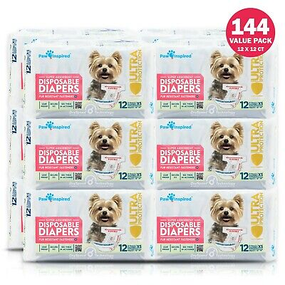 72/144ct Dog Diapers Disposable Doggie Diapers Paw Inspired Diapers XS S M Bulk