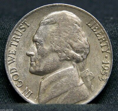 1953 S Jefferson Nickel, Circulated, Nice, Mintage of Only 19 Mil, Free Ship