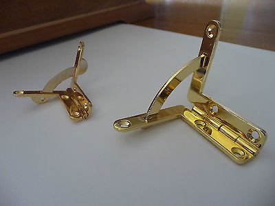 Polished Solid Brass Quadrant Hinges for Box Makers - Small