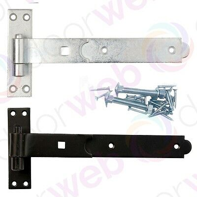 STRAIGHT BAND AND HOOK Pair T Hinges Heavy Duty Stable Gate GALVANISED / BLACK
