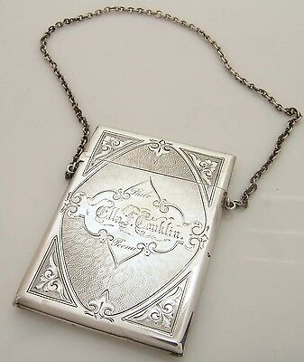 VICTORIAN STERLING SILVER LADIES CARD HOLDER CHATELAINE