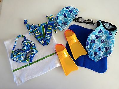 """NEW-DOLL Swimsuits[2]/Cap/Goggles/Swim Fins fit 18""""Doll such as AG Doll-Lot #124"""