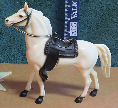 "Hartland glossy 7""series white Wrangler horse w/black embossed saddle/bridle"