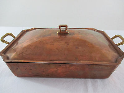 Old Copper Tin Lined Roasting Pan with Lid Brass Handles Atq Vtg Casserole Pot