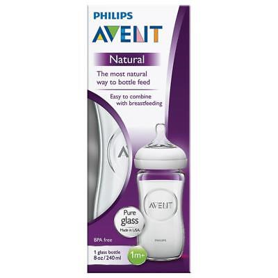 Philips Avent Natural Feeding Glass Bottle 240Ml 8 Oz Clear Baby Breastfeeding
