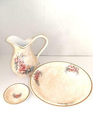 Set TOILETTE catino brocca piattino ceramica MADE IN FLORENCE DECORO ROSA