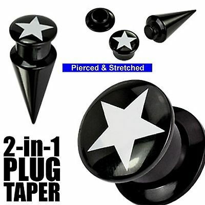 10mm 2 in 1 interchangeable screw fit Taper-Plug set with STAR - Tunnels & Plugs