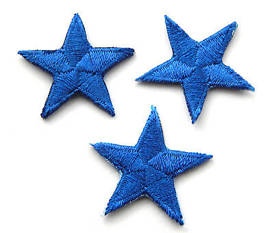 "Blue star patches > pack of 3 > embroidered > iron-on > 1"" (25mm) hand finished"