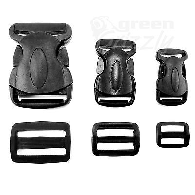 Delrin Plastic Side Release Buckle Clips Sliders For Webbing 20mm 25mm 40mm