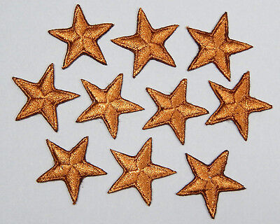 "Brown star patches > pack of 10 >embroidered> iron-on > 1"" (25mm) hand finished"