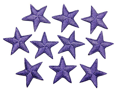 "Purple star patches > pack of 10 >embroidered> iron-on > 1"" (25mm) hand finished"