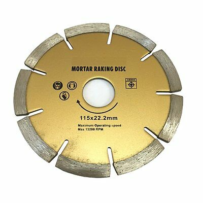 "115mm (4.5"") Diamond Mortar Raking Disc - Brickwork pointing joint raker blade"