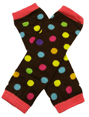 NEW! Brown with Yellow Pink Blue Green Dots Cotton Legwarmers 0-6 Years