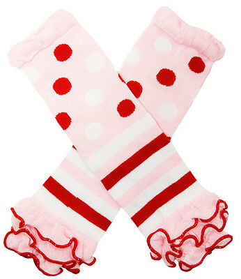 NEW! Pink and Red Polka Dots Striped Cotton Legwarmers with Ruffles 0-6 Years