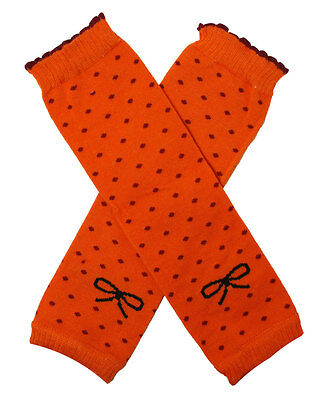 NEW! Orange with Fuchsia Polka Dots Cotton Legwarmers 0-6 Years