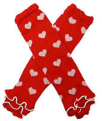 NEW! Valentine's Day Red Heart Print Cotton Legwarmers with Ruffles 0-6 Years