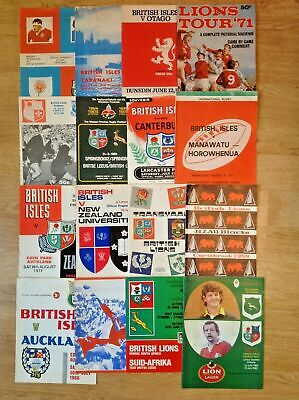 British Lions Rugby Tour Programmes 1959 - 1980