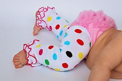 NEW! White with Clown Dots Cotton Legwarmers with Hot Pink Ruffles 0-6 Years