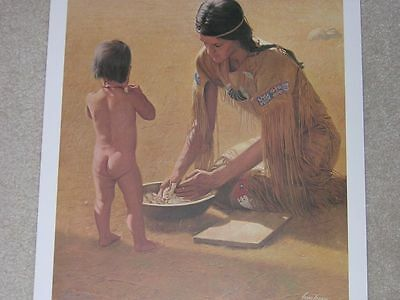 INDIAN MAIDEN SQUAW MAKE BREAD 18X24 PRINT VERN TOSSEY 1981 SIGNED 916/1000 mint