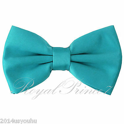 Classic New Aqua Turquoise Blue Men's Pre-tied Bowtie Bow tie wedding Party Prom