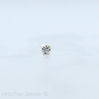 Genuine Solid 925 Sterling Silver Tiny Clear Simulated Diamond Nose Stud Bone