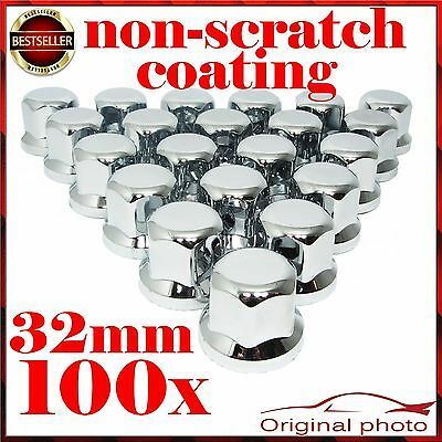 100 Plastic Chrome Wheel Nut Cover 33mm Truck Lorry Trailer - Scania Volvo NEW