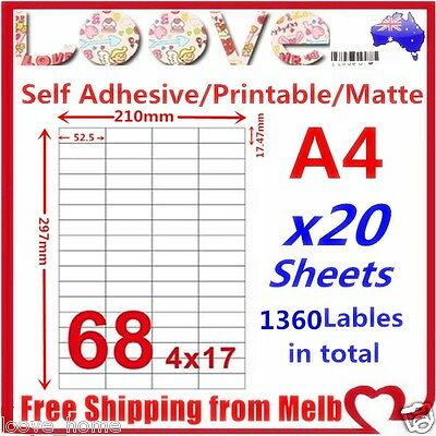 20x A4 Labels Sticker Paper Mailing Address Office Laser Inkjet Printer 17x4 68