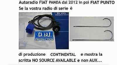 "Cavo Aux pannello MP3 Fiat Panda Punto dal 2013 con ""NO SOURCE AVAILABLE"" 1,4mt"