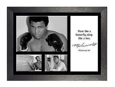 Muhammad Ali 20 Famous Motivation Quote Boxing Legend Signed Poster Black White
