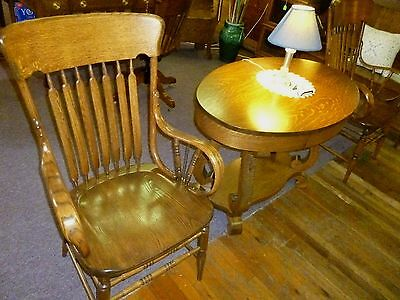 Antique Oak Chairs Bentwood arms arrowback, solid seat Refinished (pair)