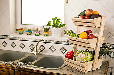 3 tier Wooden Vegetable fruit food storage rack Angled