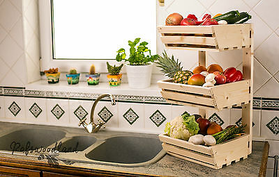 3 Tier Wall Mountable Wooden Vegetable fruit rack kitchen storage Simple